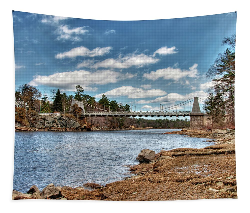 Newburyport Amesbury Massachusetts Chain Bridge Deer Island Merrimack River New England Spofford House Tapestry featuring the photograph Chain Bridge On The Merrimack by Wayne Marshall Chase