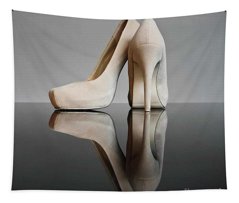 Champagne High Heel Shoes Tapestry featuring the photograph Champagne Stiletto Shoes by Terri Waters