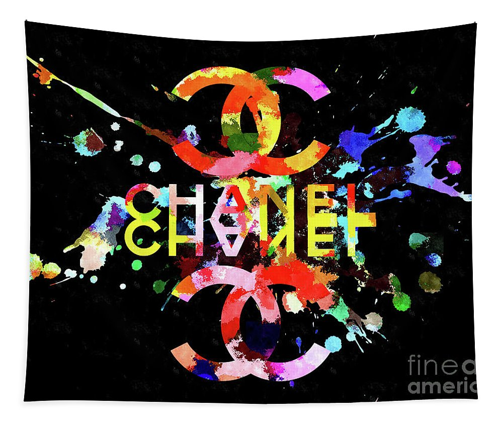 Chanel Blacky Black Tapestry featuring the mixed media Chanel Blacky Black by Daniel Janda