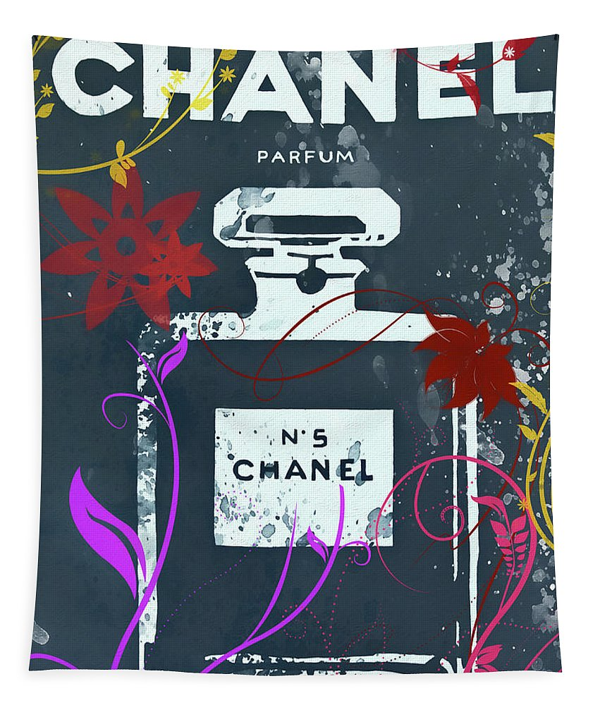 Chanel Floral Parfum Tapestry featuring the mixed media Chanel Floral Parfum by Dan Sproul