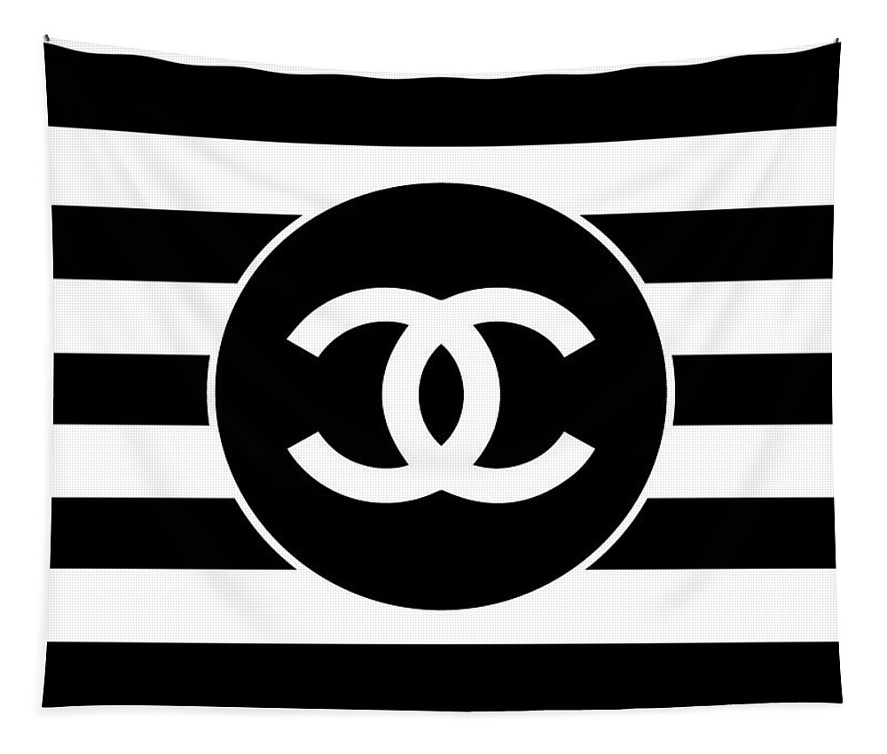 Chanel Tapestry featuring the digital art Chanel - Stripe Pattern - Black And White 2 - Fashion And Lifestyle by TUSCAN Afternoon