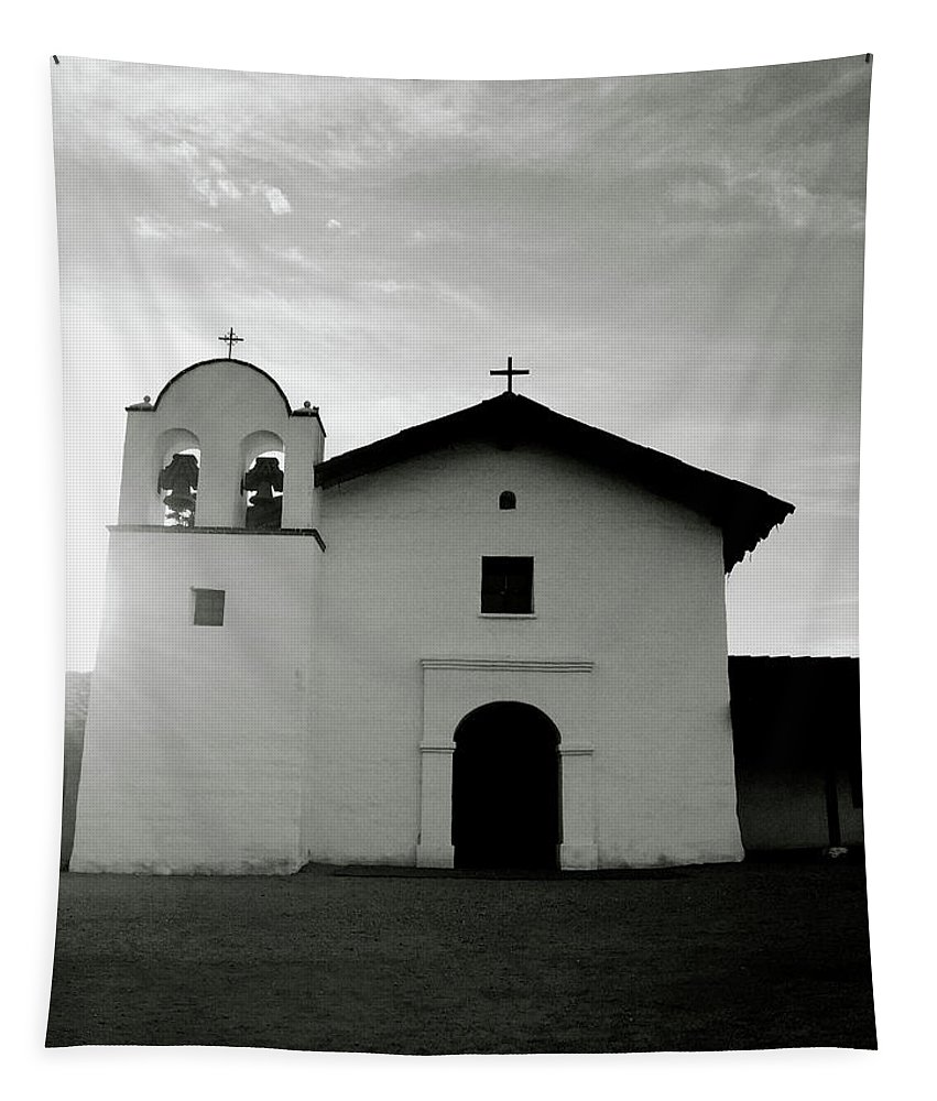 Black And White Tapestry featuring the photograph Chapel In The Shadows- Art By Linda Woods by Linda Woods