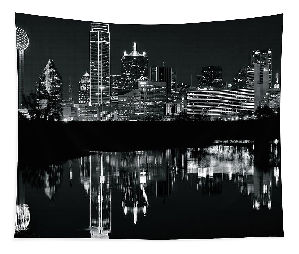 Dallas Tapestry featuring the photograph Charcoal Night In Dallas by Frozen in Time Fine Art Photography