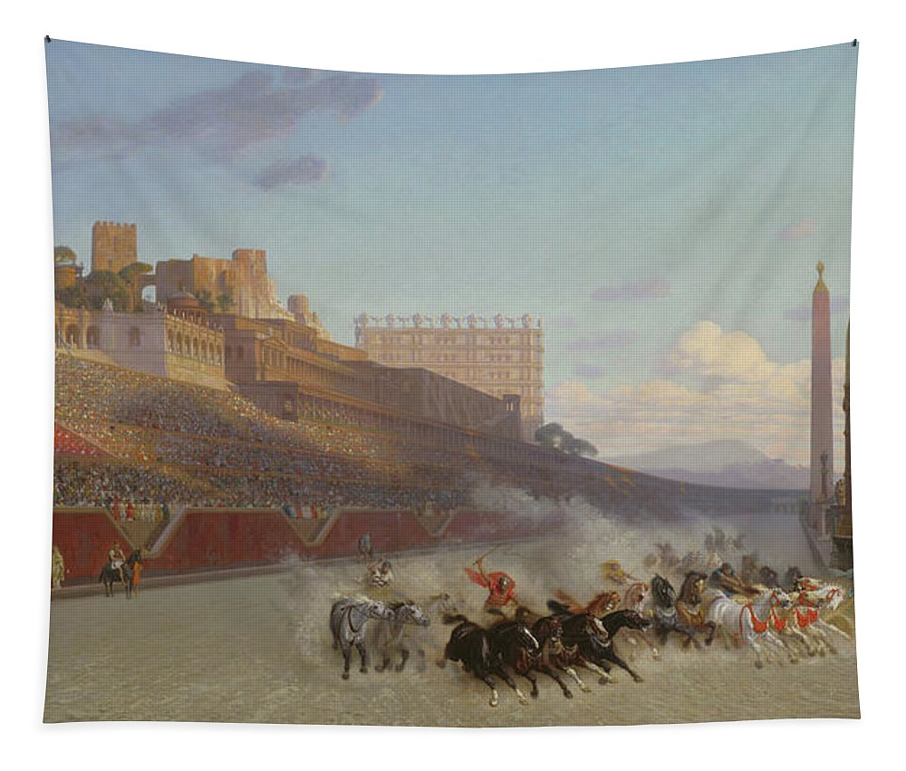 Roman Tapestry featuring the painting Chariot Race by Jean Leon Gerome