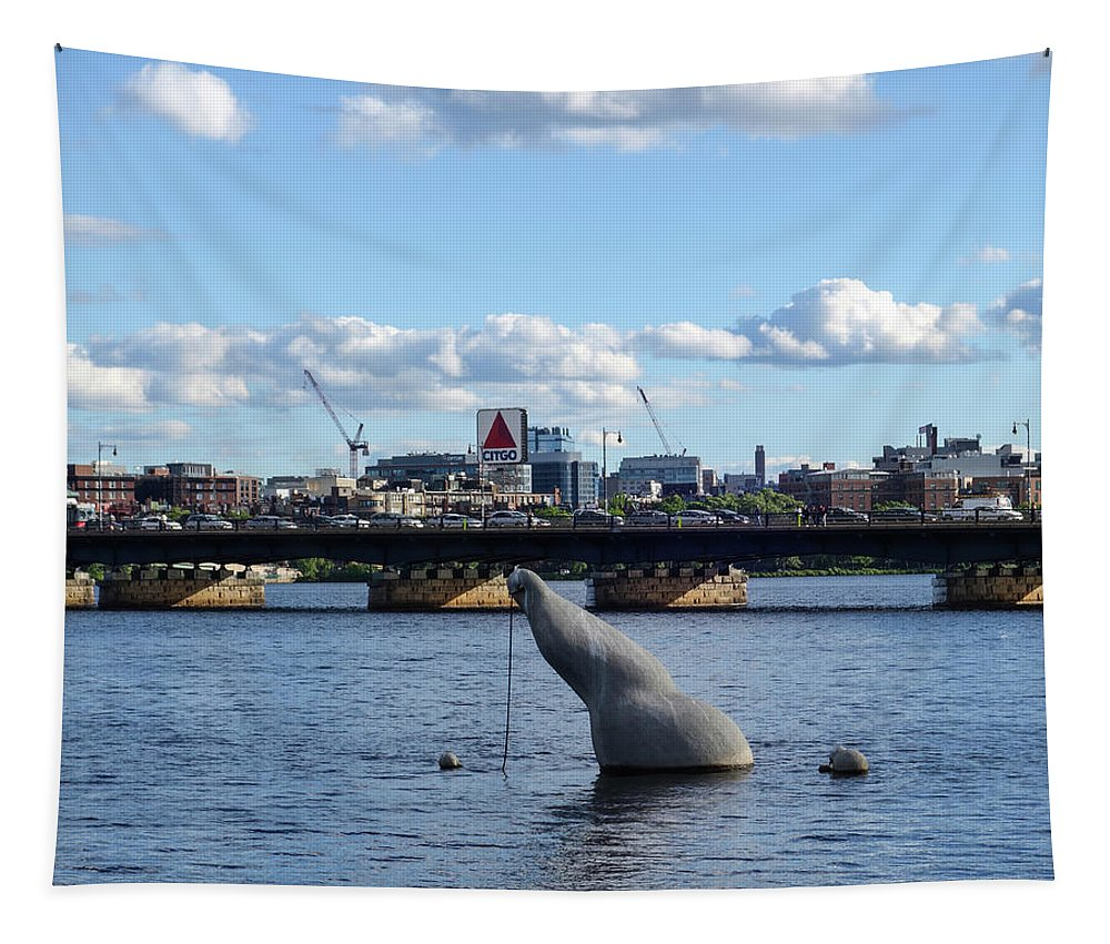Boston Tapestry featuring the photograph Charles River Boston Ma Crossing The Charles Citgo Sign Mass Ave Bridge by Toby McGuire