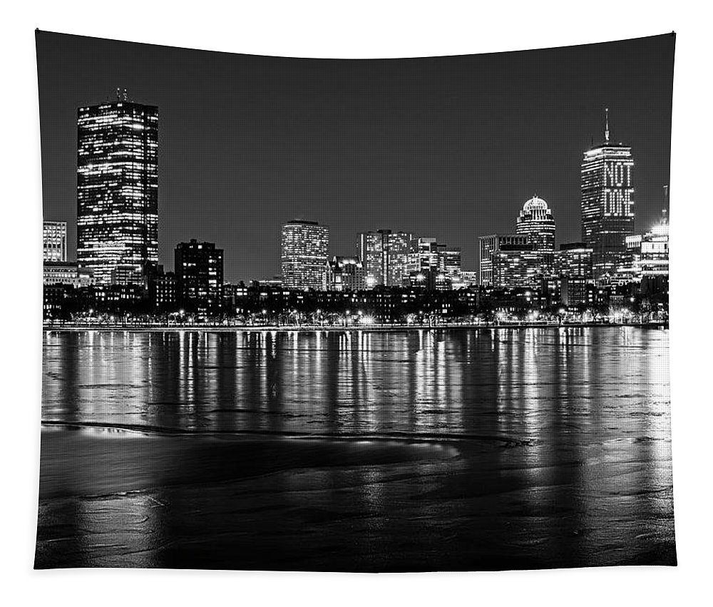 Charles Tapestry featuring the photograph Charles River Boston Ma Prudential Lit Up Not Done New England Patriots Black And White by Toby McGuire
