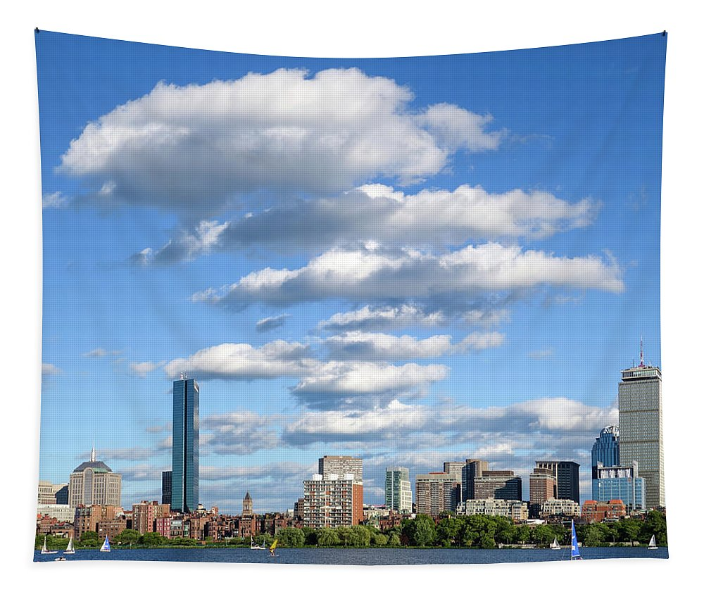 Boston Tapestry featuring the photograph Charles River Cloud Stack Boston Ma by Toby McGuire