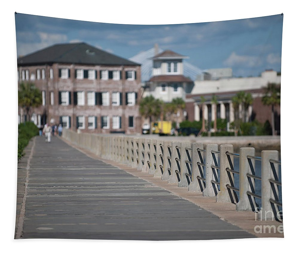 Sidewalk Tapestry featuring the photograph Charleston High Battery Side Walk by Dale Powell