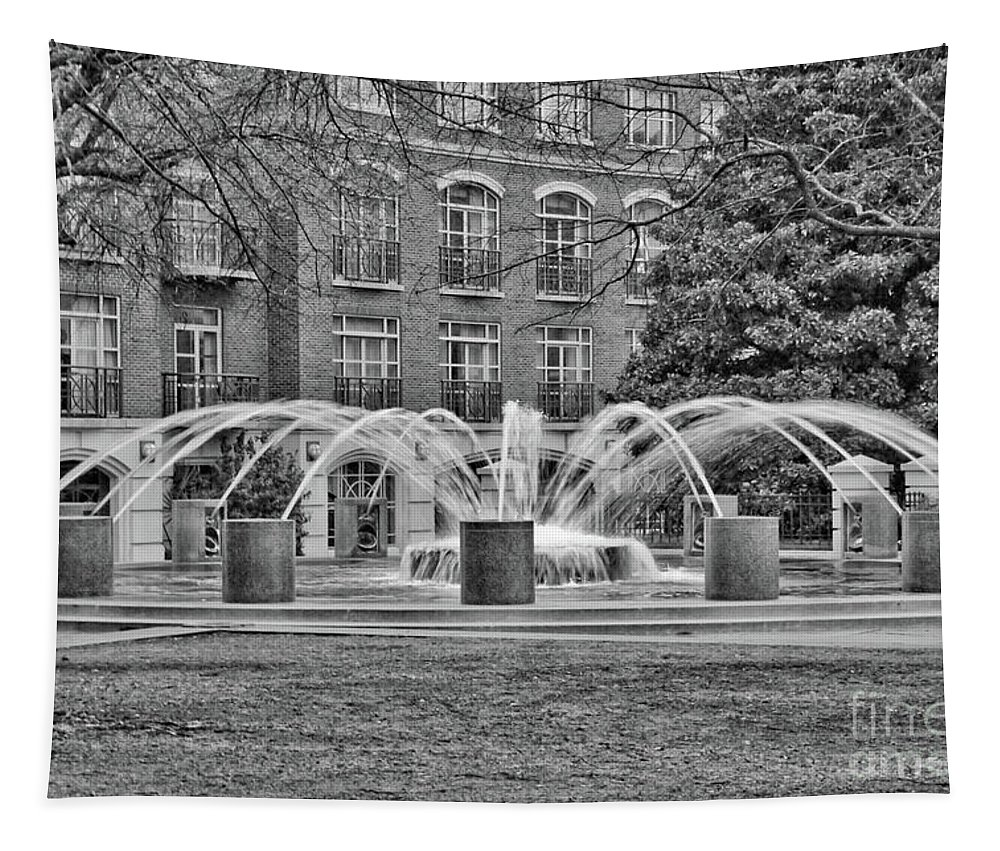 Charleston Tapestry featuring the photograph Charleston Waterfront Park Fountain Black And White by Carol Groenen