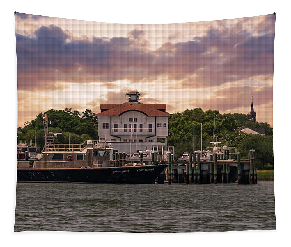 Charleston Tapestry featuring the photograph Charleston Wharf by Dale Powell