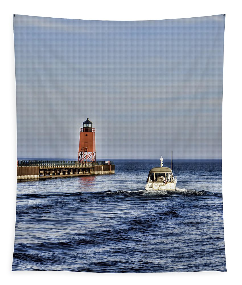 Charlevoix South Pier Light Tapestry featuring the photograph Charlevoix South Pier Light by Phyllis Taylor