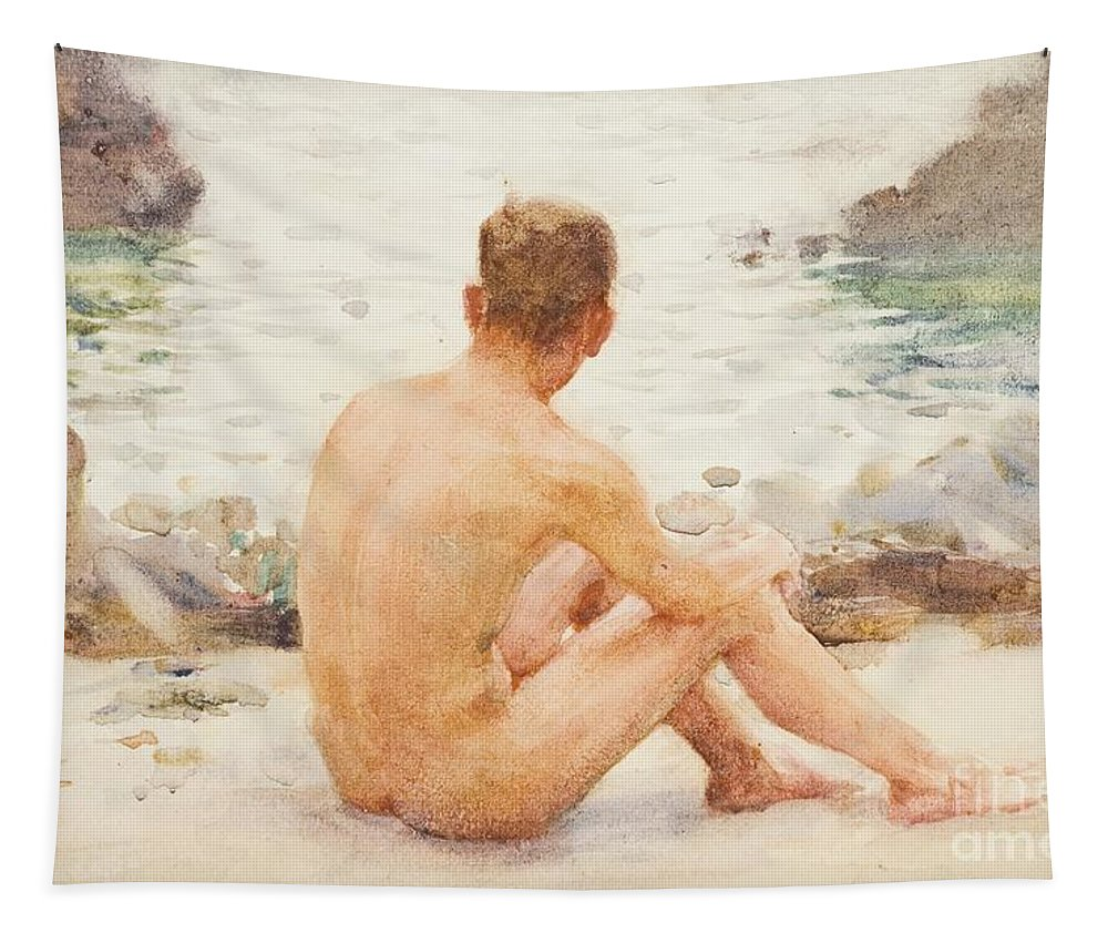 Charlie Mitchell Tapestry featuring the painting Charlie Seated On The Sand by Henry Scott Tuke