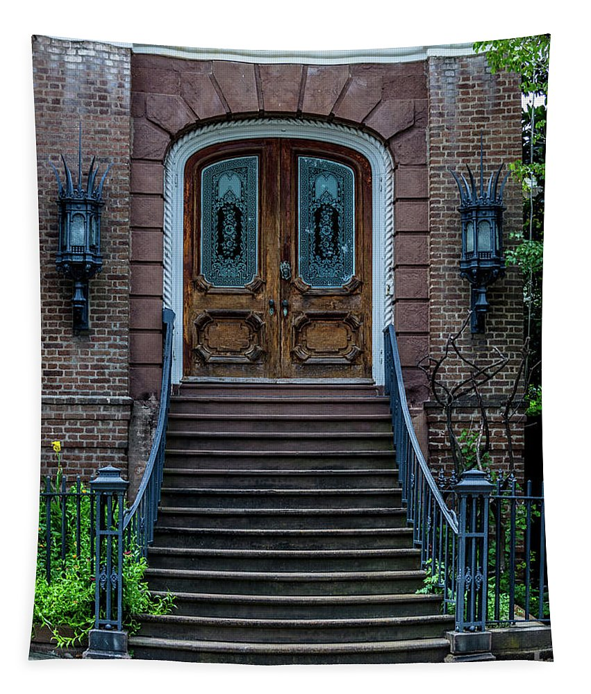 Door Tapestry featuring the photograph Flanking Cast Iron Lanterns by Dale Powell