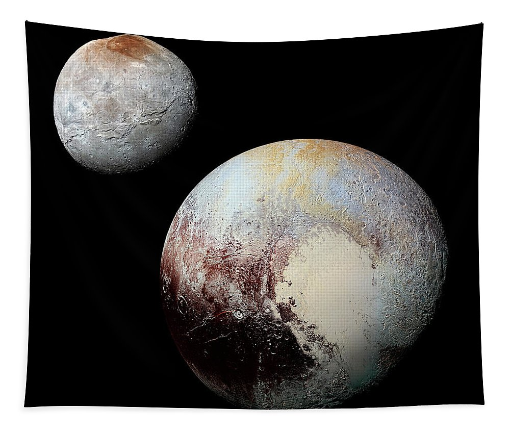 Chaon Tapestry featuring the photograph Charon And Pluto Enhanced by Weston Westmoreland