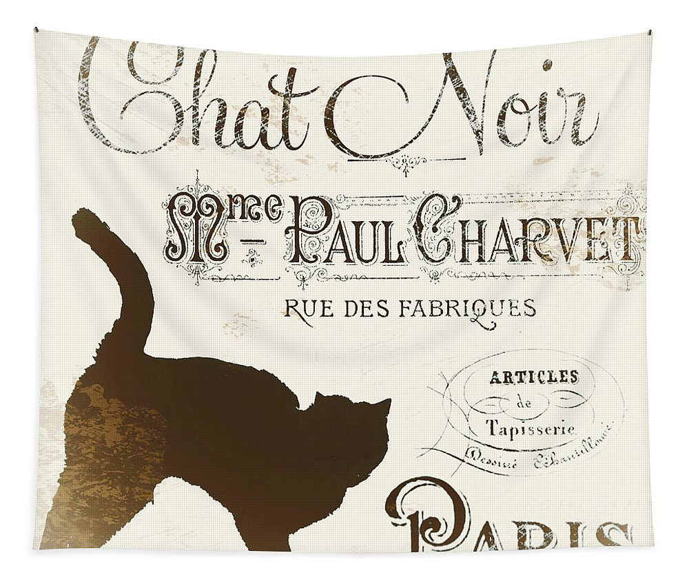 Cat. Cats. Black Cats Tapestry featuring the painting Chat Noir Paris by Mindy Sommers