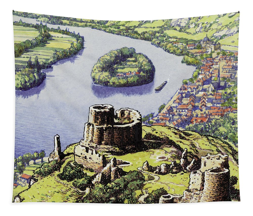 Chateau Gaillard Tapestry featuring the painting Chateau Gaillard, Also Known As The New Castle Of The Rock by Pat Nicolle