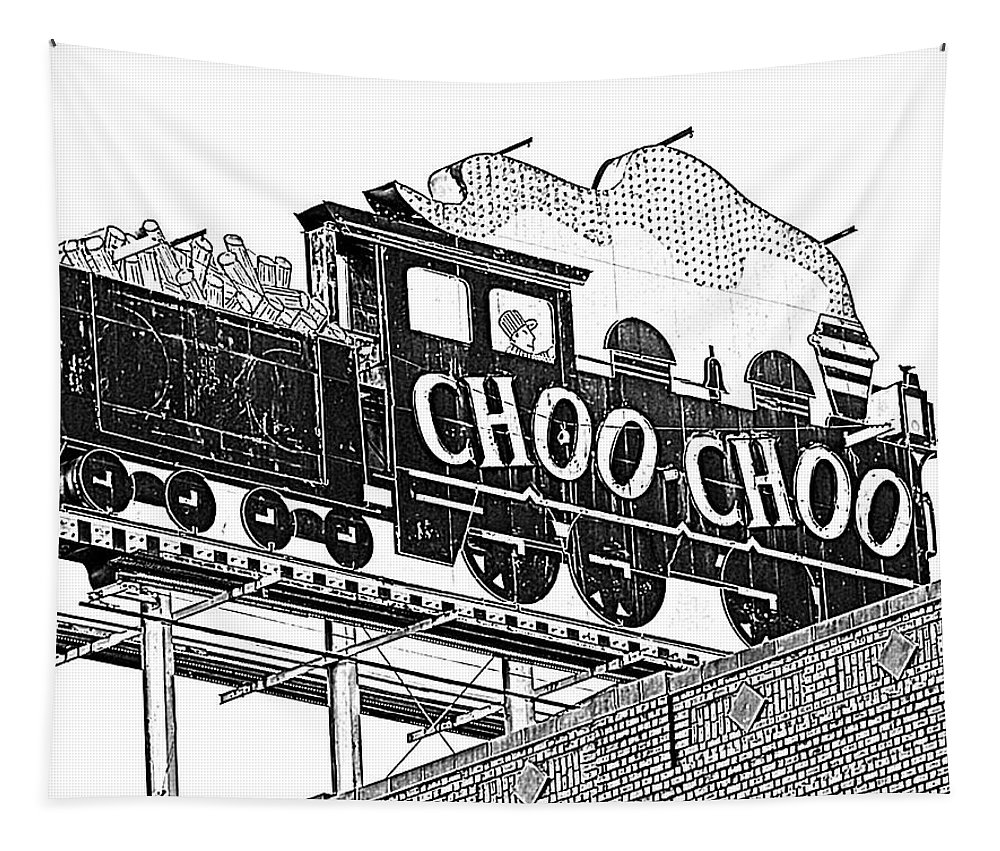 Train Tapestry featuring the photograph Chattanooga Choo Choo Sign In Black And White by Marian Bell