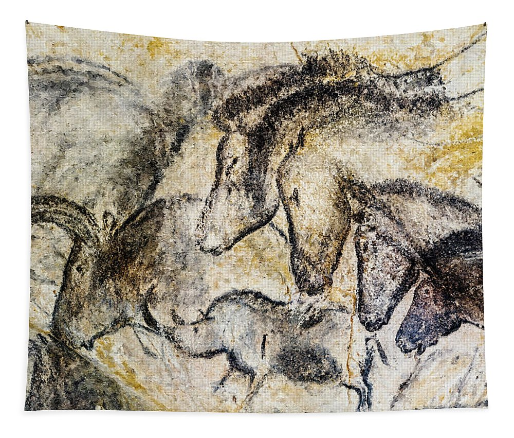 Chauvet Horse Tapestry featuring the photograph Chauvet Horses Aurochs And Rhinoceros by Weston Westmoreland