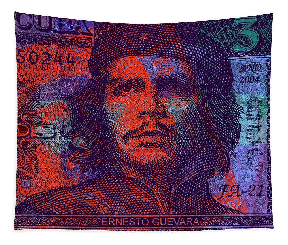 Communist Tapestry featuring the digital art Che Guevara 3 Peso Cuban Bank Note - #3 by Jean luc Comperat