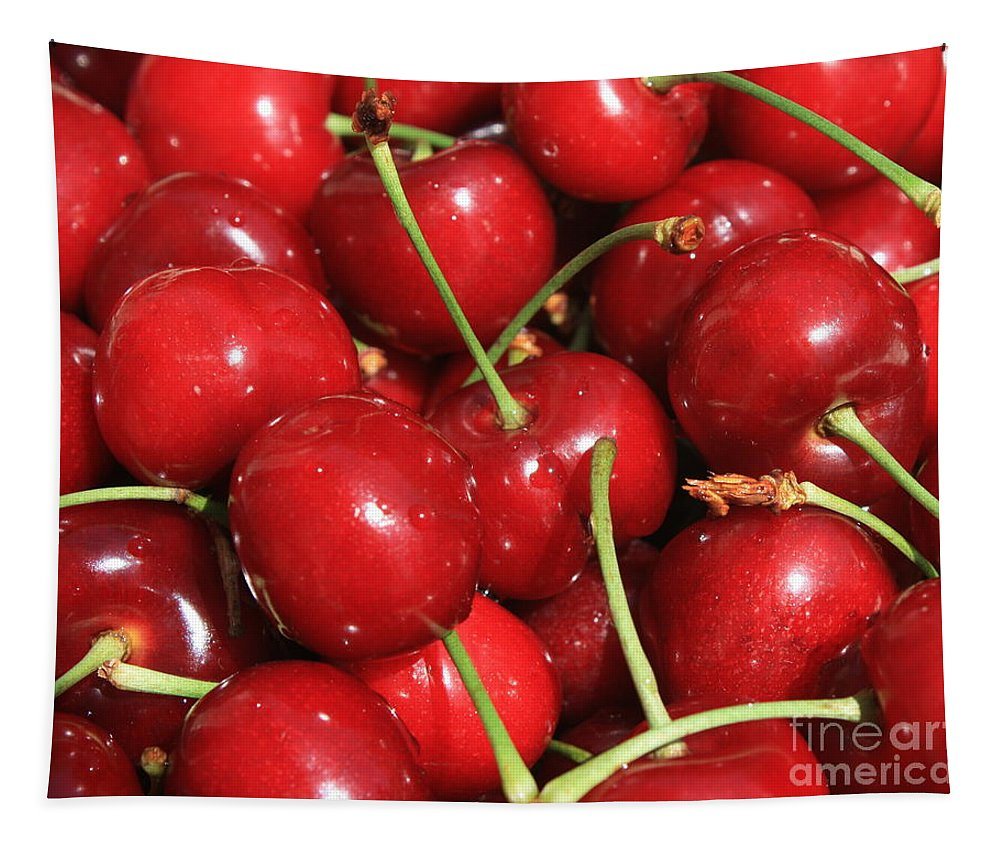Food And Beverages Tapestry featuring the photograph Cherries by Carol Groenen
