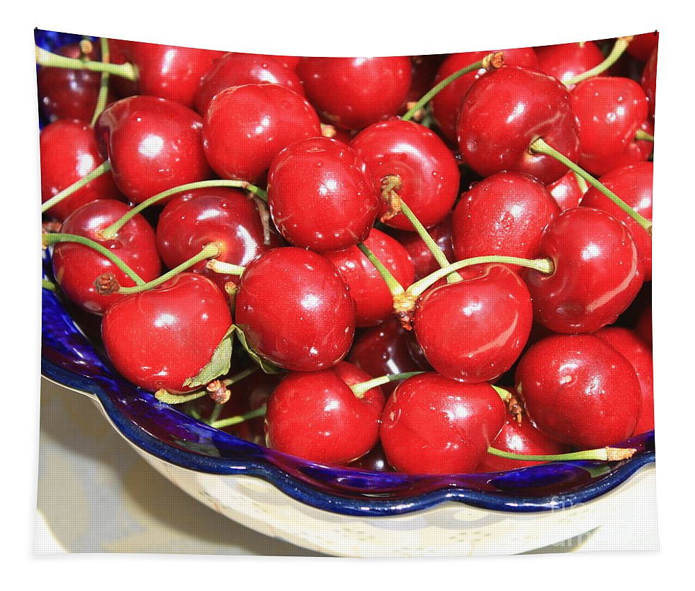 Food Tapestry featuring the photograph Cherries In A Bowl Close-up by Carol Groenen