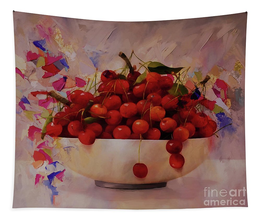 Cherry Tapestry featuring the painting Cherry Bowl by Gull G
