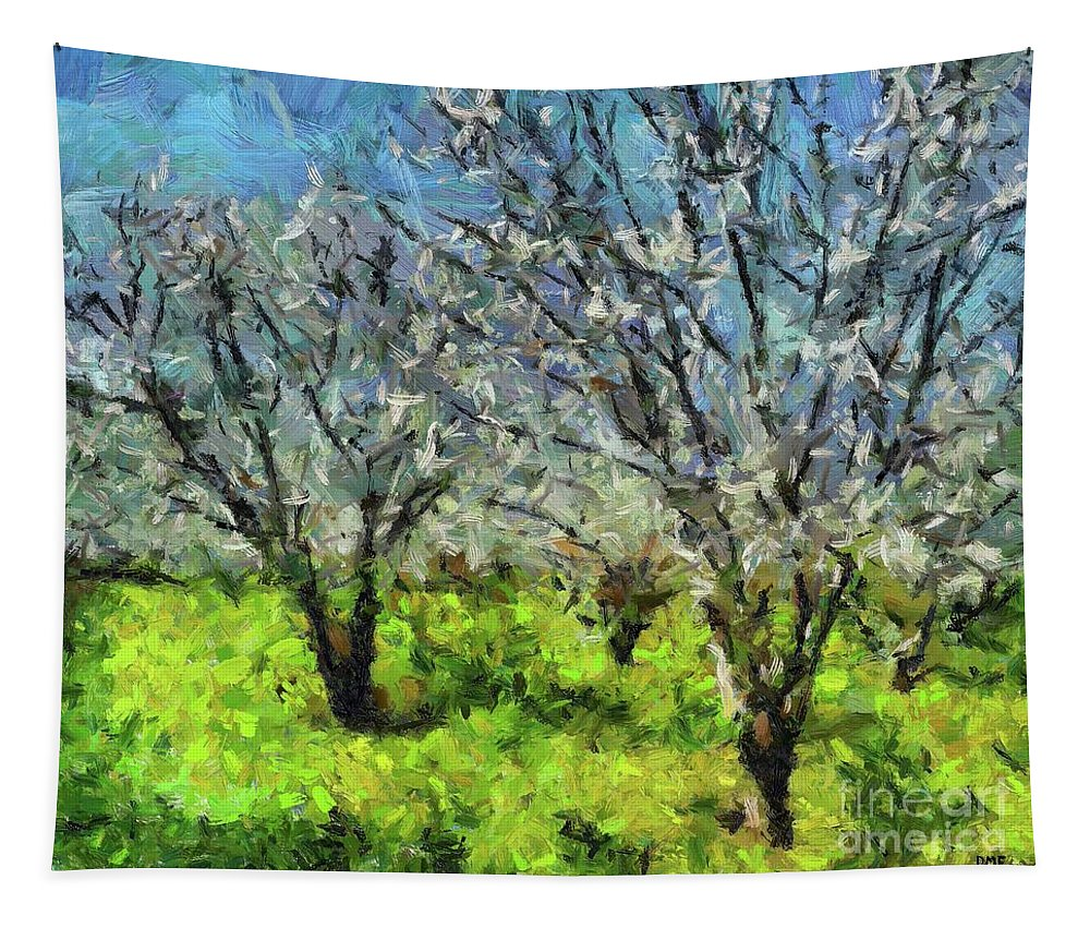 Spring Tapestry featuring the painting Cherry Orchard by Dragica Micki Fortuna