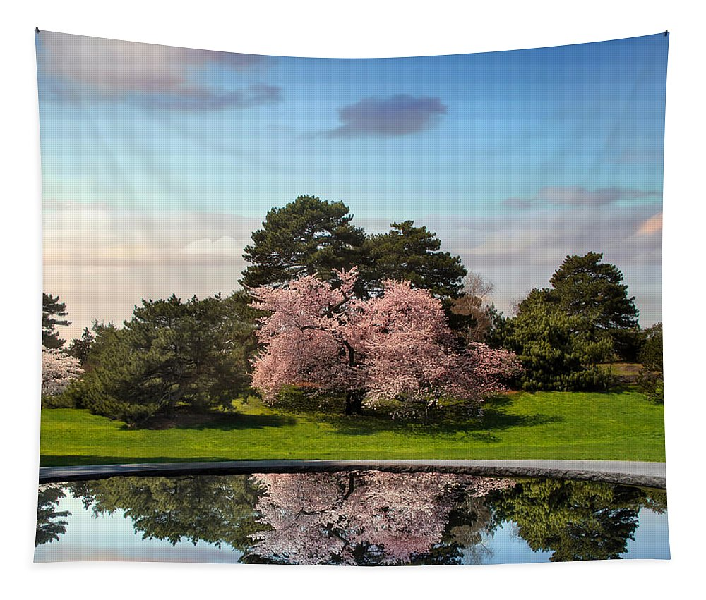 Spring Tapestry featuring the photograph Cherry Tree Reflections by Jessica Jenney