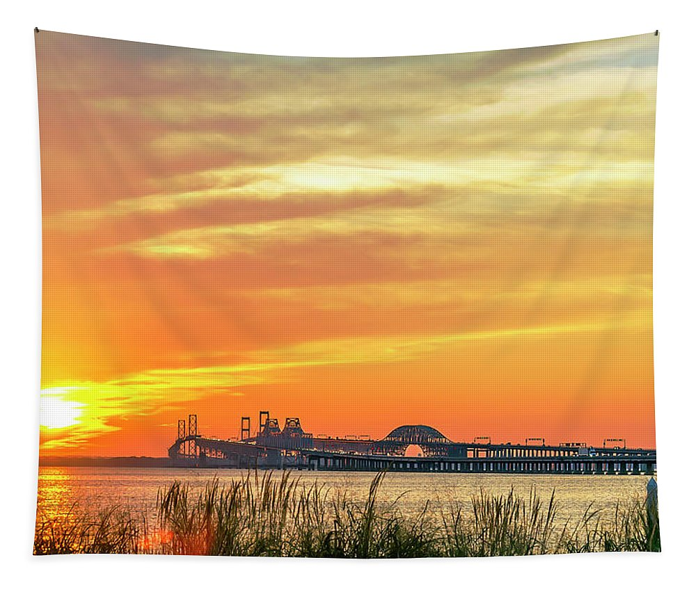 2d Tapestry featuring the photograph Chesapeake Bay Bridge Sunset by Brian Wallace