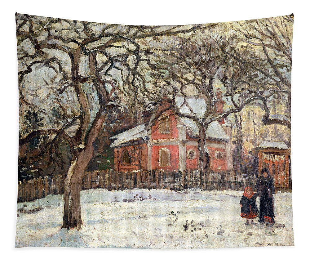 Chestnut Tapestry featuring the painting Chestnut Trees At Louveciennes by Camille Pissarro