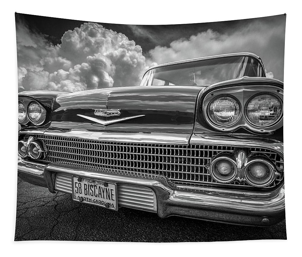 '58 Tapestry featuring the photograph Chevrolet Biscayne 1958 In Black And White by Debra and Dave Vanderlaan