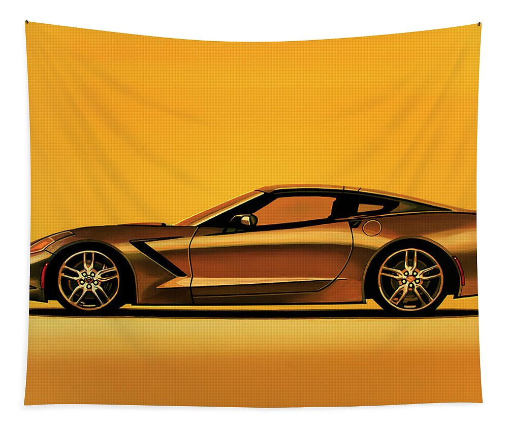 Chevrolet Corvette Stingray Tapestry featuring the painting Chevrolet Corvette Stingray 2013 Painting by Paul Meijering