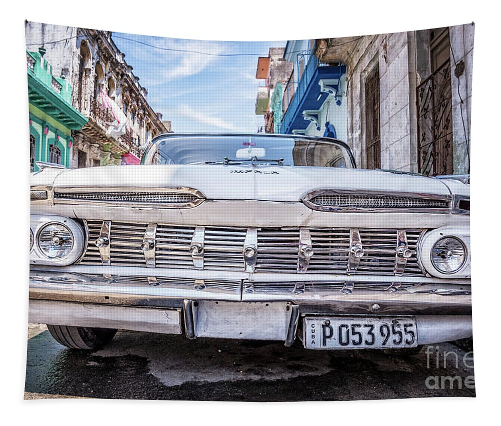Cuba Tapestry featuring the photograph Chevrolet Impala In Havana by Delphimages Photo Creations