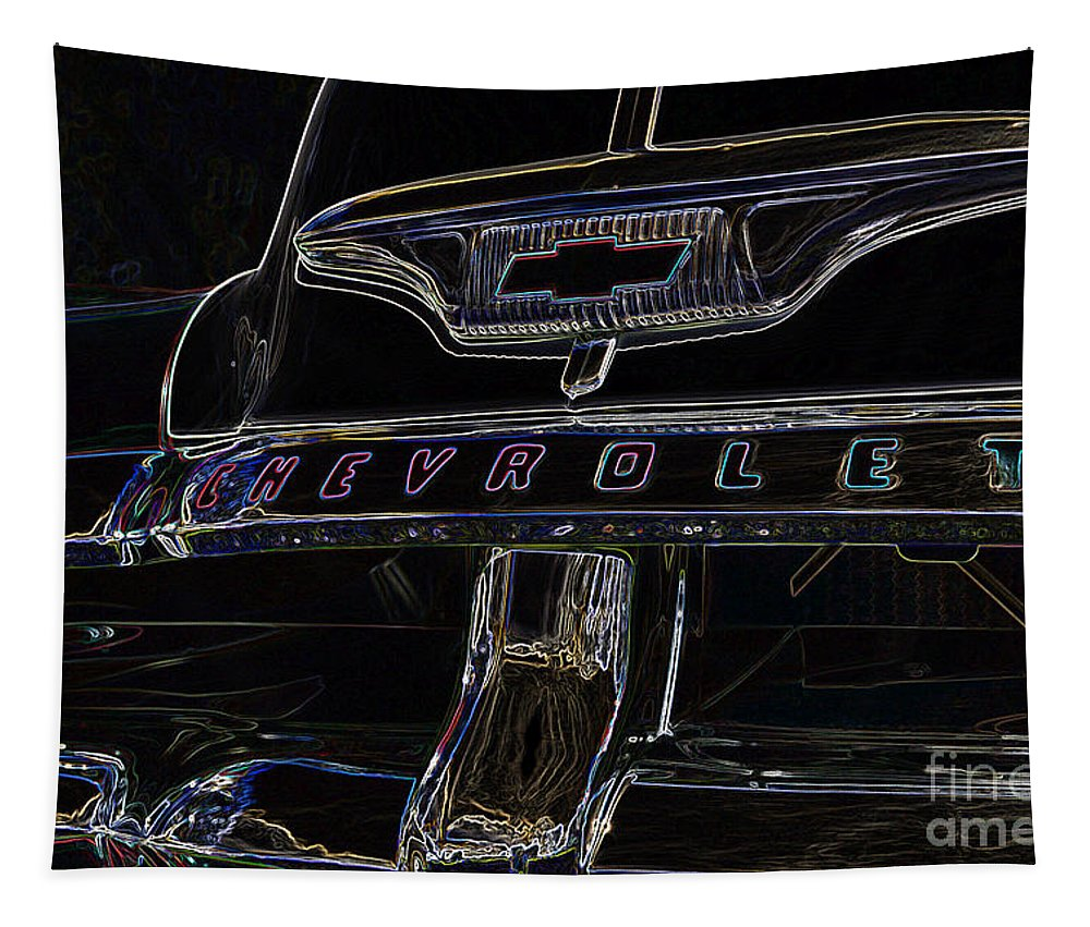 Chevrolet Tapestry featuring the digital art Chevrolet 2 by Wendy Wilton