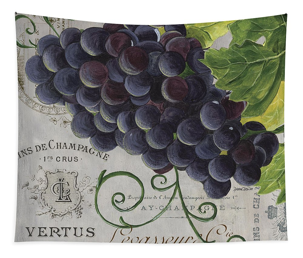 Grapes Tapestry featuring the painting Vins de Champagne 2 by Debbie DeWitt