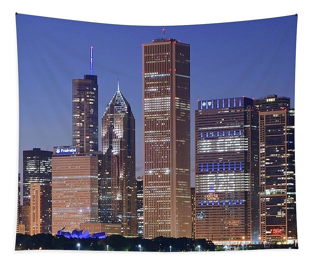 Chicago Tapestry featuring the photograph Chicago 2018 Blue Hour by Frozen in Time Fine Art Photography