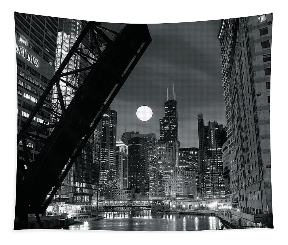 Chicago Tapestry featuring the photograph Chicago Black And White Nights by Frozen in Time Fine Art Photography