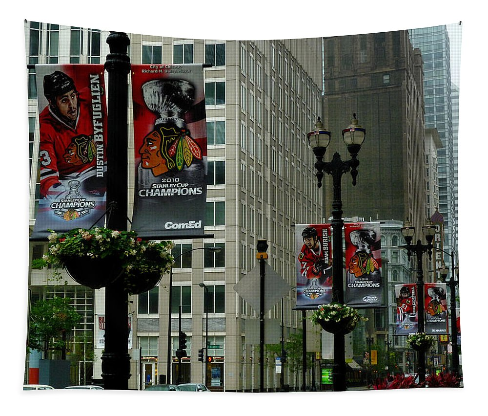 Chicago Blackhawk Flags Tapestry featuring the photograph Chicago Blackhawk Flags by Ely Arsha