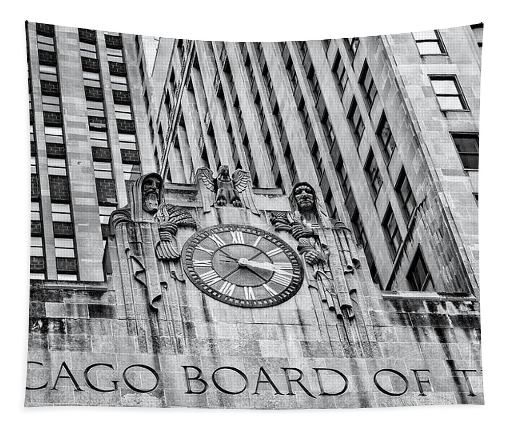 Chicago Tapestry featuring the photograph Chicago Board Of Trade Bw by Jerry Fornarotto
