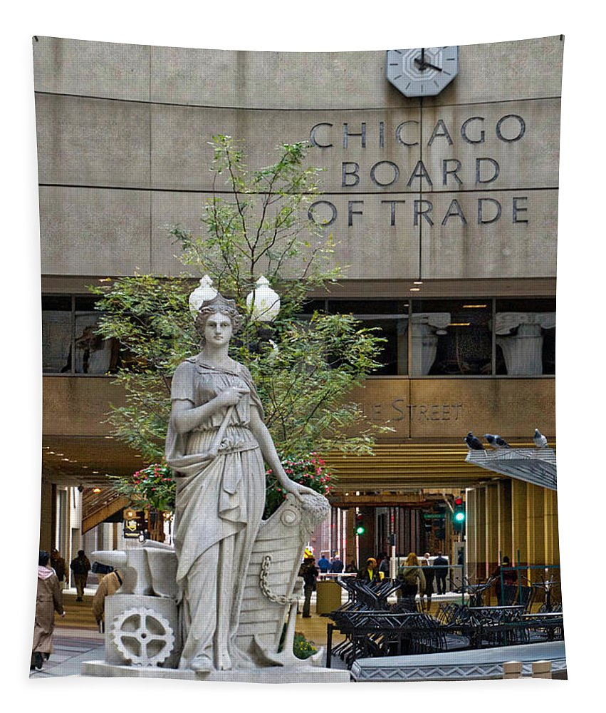 Board Of Trade Tapestry featuring the photograph Chicago Board Of Trade Signage by Thomas Woolworth