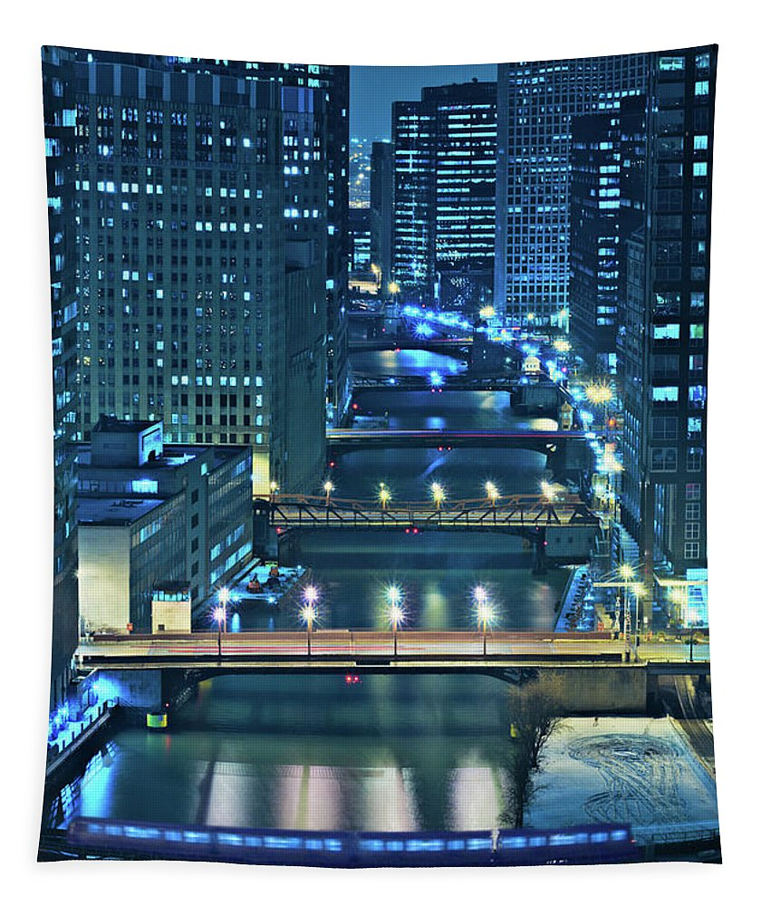Chicago Tapestry featuring the photograph Chicago Bridges by Steve Gadomski