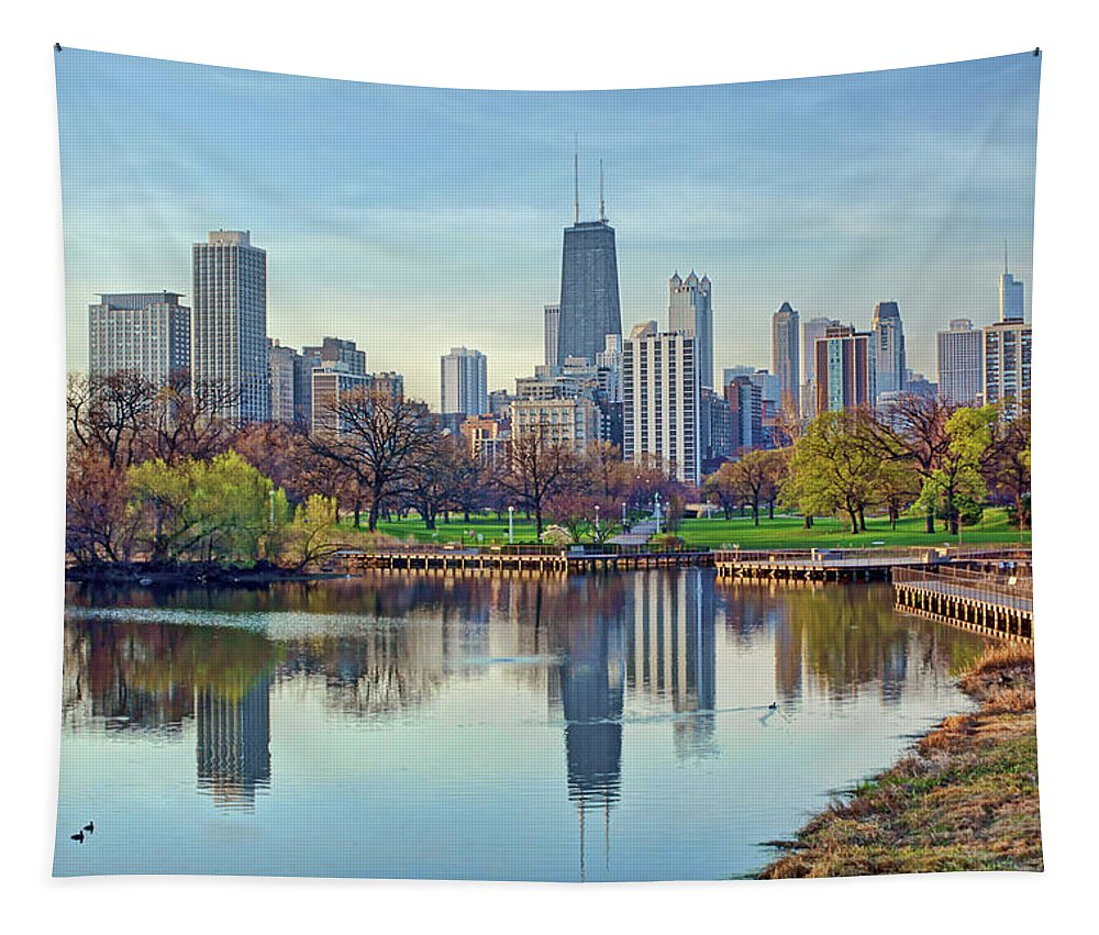 Chicago Skyline Tapestry featuring the photograph Chicago From Lincoln Park by Nikolyn McDonald