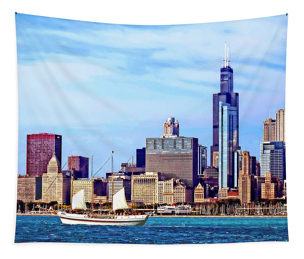 Chicago Tapestry featuring the photograph Chicago Il - Schooner Against Chicago Skyline by Susan Savad