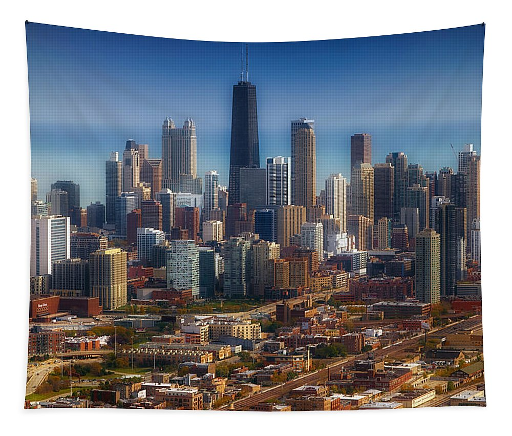 Cities Tapestry featuring the photograph Chicago Looking East 01 by Thomas Woolworth