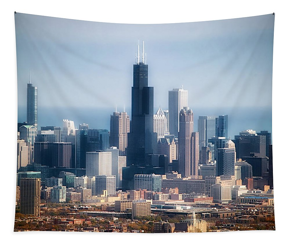 Chicago Tapestry featuring the photograph Chicago Looking East 02 by Thomas Woolworth