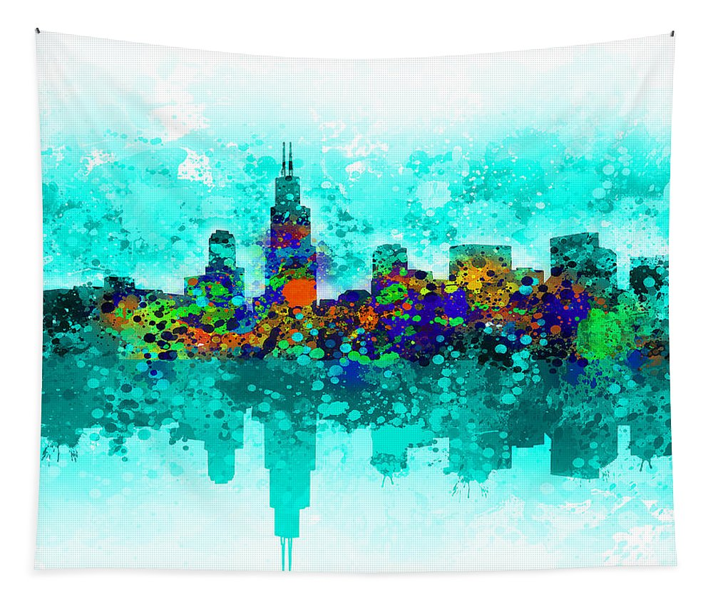 Chicago Skyline Tapestry featuring the painting Chicago Skyline by Bekim Art