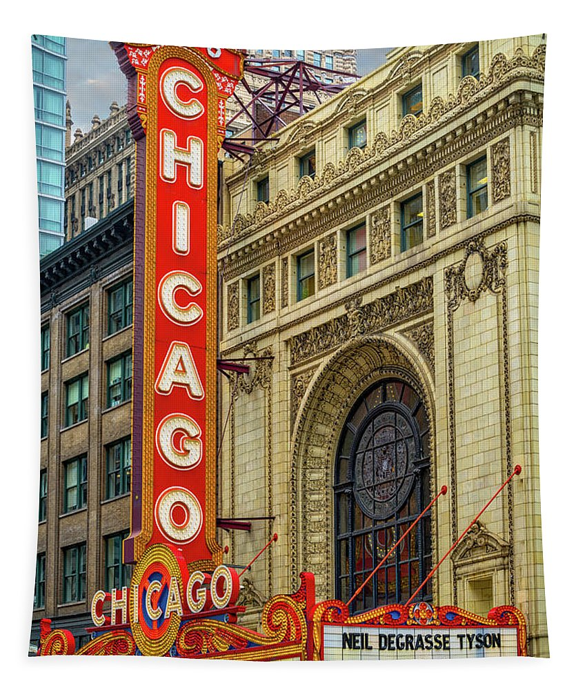 Chicago Tapestry featuring the photograph Chicago Theatre by Jerry Fornarotto