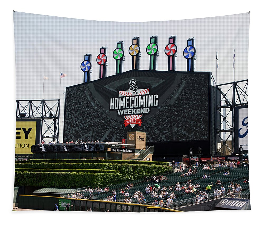 White Sox Tapestry featuring the mixed media Chicago White Sox Home Coming Weekend Scoreboard by Thomas Woolworth
