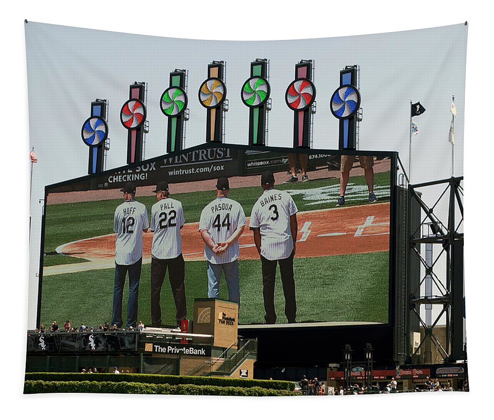 White Sox Tapestry featuring the mixed media Chicago White Sox Scoreboard Thank You 12 22 44 3 by Thomas Woolworth