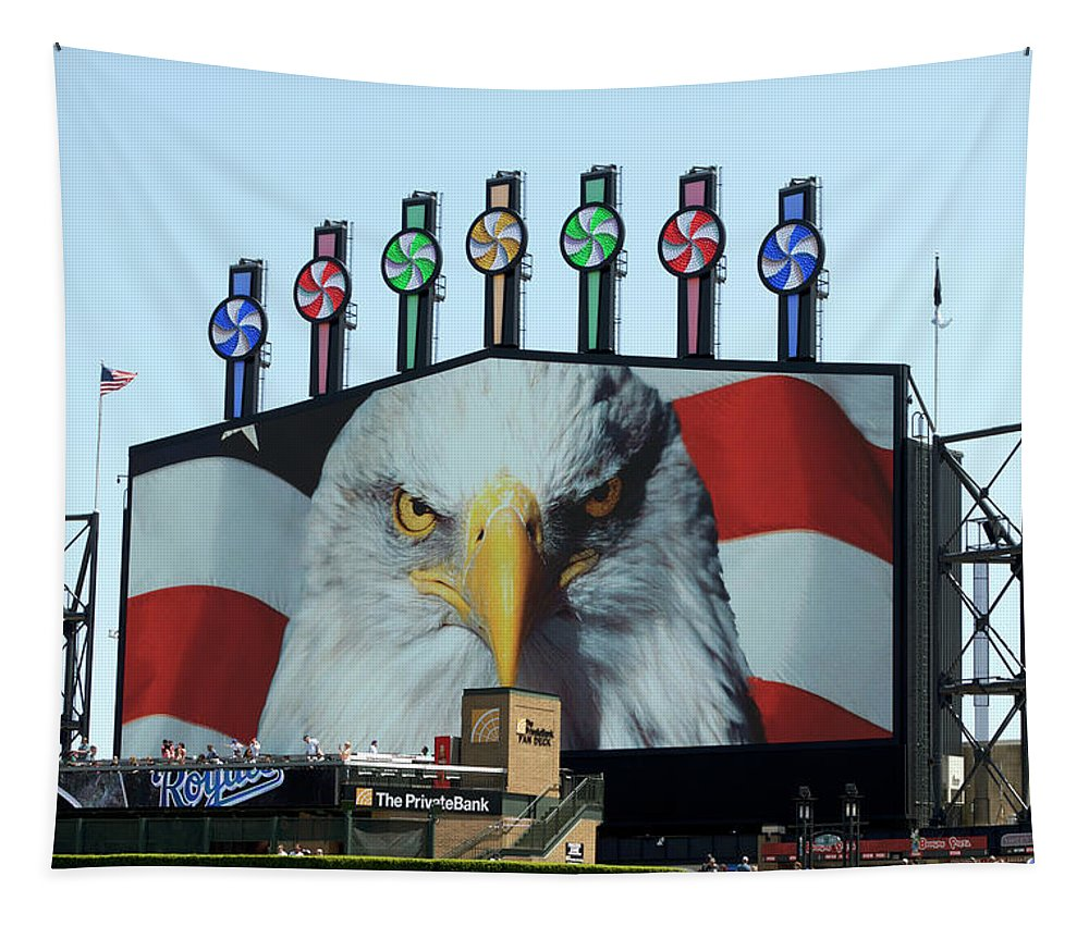 White Sox Tapestry featuring the mixed media Chicago White Sox Usa Eagle Scoreboard by Thomas Woolworth